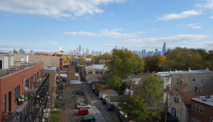 Chicago skyline from suburban neighborhood