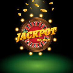 Jackpot banner sign in the form of roulette. Vector big win billboard for casino. Winner sign in the form of wheel with coins money