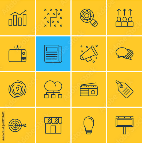 26bbb7ffccf Vector Illustration Of 16 Marketing Icons. Editable Pack Of Shop ...