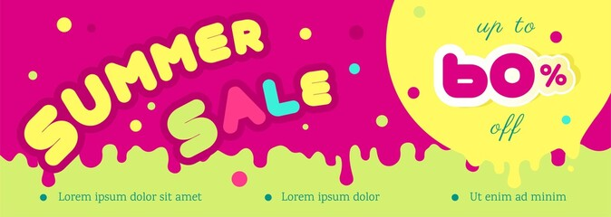 Summer sale horizontal colorful banner. Summer sale Concept. Design template vector illustration