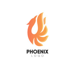 Abstract minimalistic logo of phoenix.