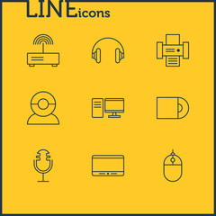 Vector Illustration Of 9 Accessory Icons. Editable Pack Of Monitor, Headset, Modem And Other Elements.
