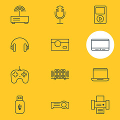 Vector Illustration Of 12 Accessory Icons. Editable Pack Of Media Controller, Photography, Modem And Other Elements.