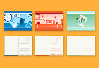 Illustrated Business Postcard Set 1
