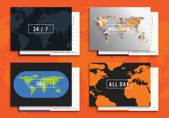 Illustrated International Business Card Set 1