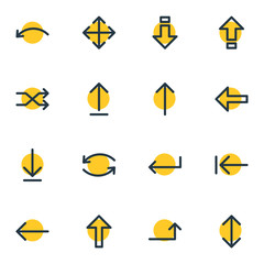 Vector Illustration Of 16 Sign Icons. Editable Pack Of Raise, Loading, Shrift And Other Elements.