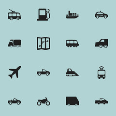 Set Of 16 Editable Transportation Icons. Includes Symbols Such As Cable Railway, Cab, Food Transport And More. Can Be Used For Web, Mobile, UI And Infographic Design.