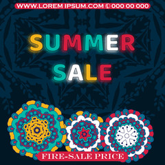 Summer sale background with beautiful colorful flower. Vector illustration template. Doodle style