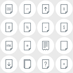 Vector Illustration Of 16 Page Icons. Editable Pack Of Basic, Munus, Question And Other Elements.