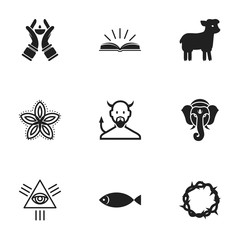 Set Of 9 Editable Dyne Icons. Includes Symbols Such As Candlestick, Satan, Christ Wreath. Can Be Used For Web, Mobile, UI And Infographic Design.