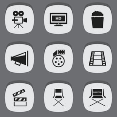 Set Of 9 Editable Cinema Icons. Includes Symbols Such As Camera Strip, Clapper, Chair And More. Can Be Used For Web, Mobile, UI And Infographic Design.