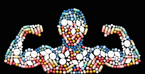 Sports doping, anabolic drugs, pills and capsules - shape of a male muscular upper body - symbol for medical drug abuse. Isolated vector illustration on black background.