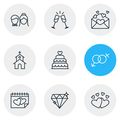 Vector Illustration Of 9 Marriage Icons. Editable Pack Of Patisserie, Love, Card And Other Elements.