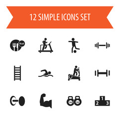 Set Of 12 Editable Fitness Icons. Includes Symbols Such As Healthy Food, Strength, Platform For Winner And More. Can Be Used For Web, Mobile, UI And Infographic Design.