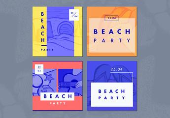 4 Beach Party Themed Social Media Post Layouts