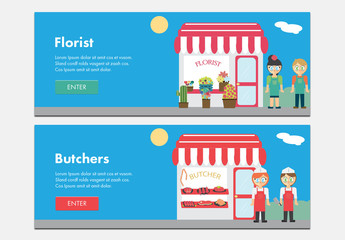 2 Illustrated Storefront Web Banners