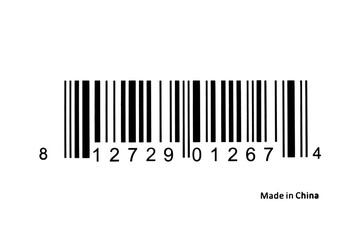 Barcode label closeup. Isolated on white background. Text reads Made in China.