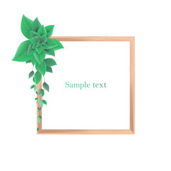Wooden decorative frame with leaves, vector illustration, isolated on white background