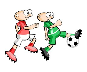 Cartoons Soccer players isolated over white