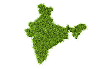 Indian map from green grass, 3D rendering