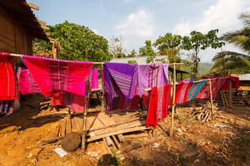 Clothes dry,Karen village,Beautiful nature,Sufficient lifestyle Tha Song Yang District, Tak Province, Thailand.
