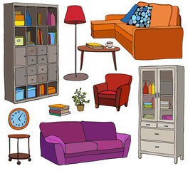 Vector set of modern furniture objects, bright colors and black outline. Bookshelf, sofa, armchair, cupboard, lamp.