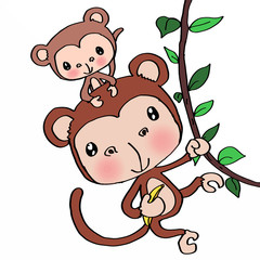 Mother monkey and baby