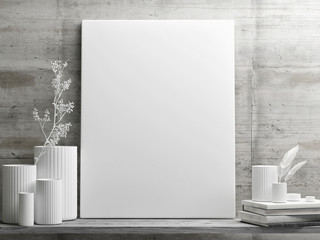 White minimalism design with mock up poster on retro concrete wall, 3d illustration