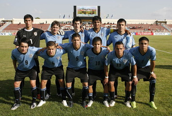 Uruguay's team lineup before the game