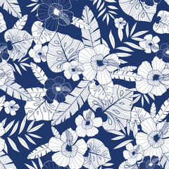 Vector blue drawing tropical summer hawaiian seamless pattern with tropical plants, leaves, and hibiscus flowers. Great for vacation themed fabric, wallpaper, packaging.