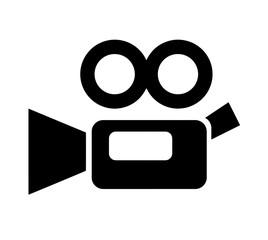 simple video camera icon, retro style