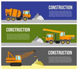 Construction machine web banner concept.