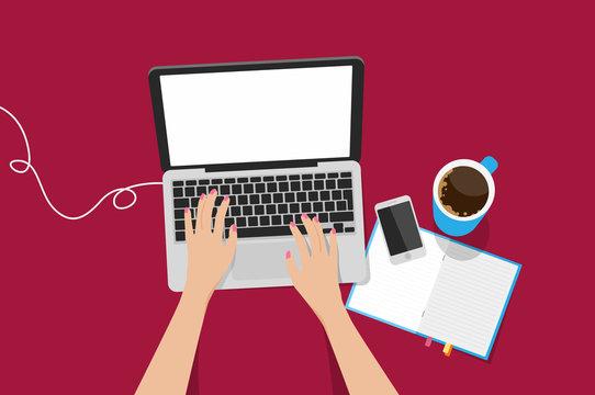 Top view laptop vector illustration