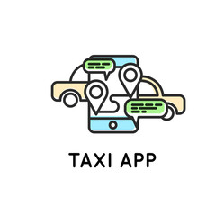 Mobile app for ordering taxi Simple Icon for web or print. Mobile taxi communication. Talk with smartphone.