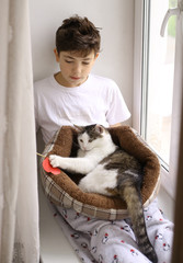 teen boy kid with cat in bed playing close up photo