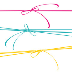 Ribbons colorful bows. Vector template.