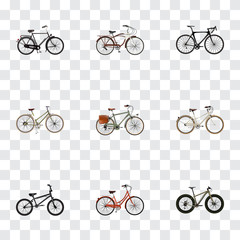 Realistic Bmx, Training Vehicle, Journey Bike And Other Vector Elements. Set Of Bike Realistic Symbols Also Includes Working, Bike, Woman Objects.