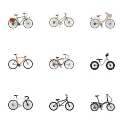 Realistic Timbered, Road Velocity, For Girl And Other Vector Elements. Set Of Bicycle Realistic Symbols Also Includes Extreme, Brand, Wooden Objects.