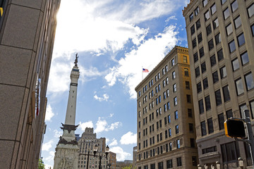 Monument and cityscape, Indianapolis, IN