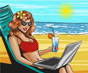 Vector vintage pop art beach holiday illustration