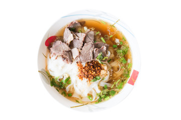 Thai food,Spicy noodle soup in a bowl isolated on white background