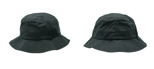 Blank bucket hat color black on white background