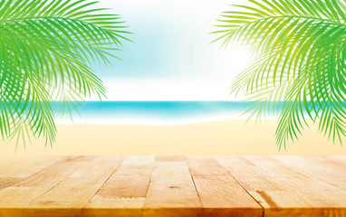 Wood table top on beautiful summer beach illustration background