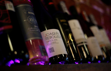 An illustration picture shows bottles of wine at a restaurant in Mexico City