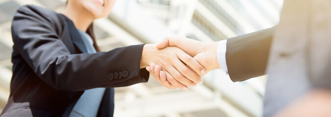 Businesswoman making handshake with a businessman, female leader concept