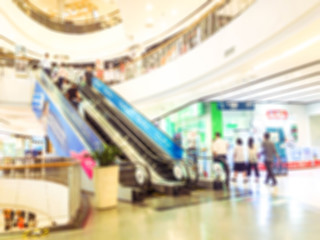 Abstract blur and defocused beautiful luxury shopping mall department and retail store interior for background.