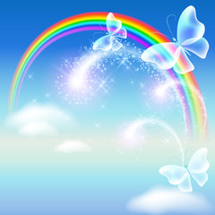 Rainbow with butterflies