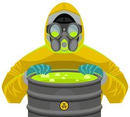 man in biohazard yellow suit opening a radioactive barrel