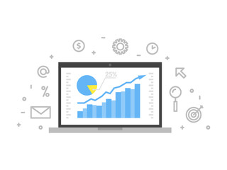 Online analytics concept line illustration. Laptop with web page graphic diagram screen and linear icon vector