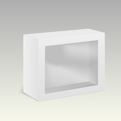 White product cardboard package box with window. Vector illustration.